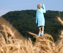 The life-sized wooden sculpture of US first lady Melania Trump before it was vandalised. Photo:...