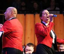 The New Zealand Army Band in full voice at the Christchurch Town Hall. Photo: RNZ / Katie Todd