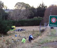 A people mover was badly damaged in a crash at Maheno in which the driver was killed. PHOTO: GUS...