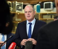 Opposition leader Todd Muller speaks to media at a visit to AD Instruments in Dunedin today....
