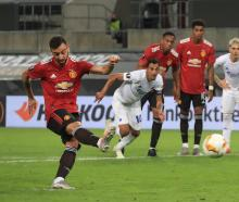 Bruno Fernandes scores the winning goal for Manchester United in this morning's Europa League...