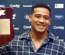 Highlanders forward of the year and players' player of the year Shannon Frizell shows off his...