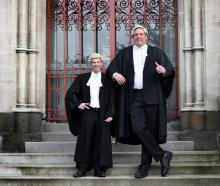 Police senior prosecutor Tim Hambleton (left) and lawyer James Collins outside the High Court at...