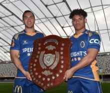 Otago centres Matt Whaanga (Taieri) (left) and Giovanni Leituala (University) will battle each...