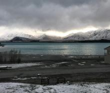 Lake Tekapo earlier this week when a snow storm was passing through. Photo: Supplied via RNZ /...
