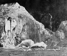 Ice cliffs, Franz Josef Glacier, South Westland. — Otago Witness,14.9.1920.