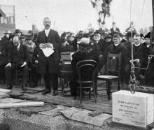 Rev H. Barton addresses the gathering at the laying of the foundation stone of the new Maori Hill...