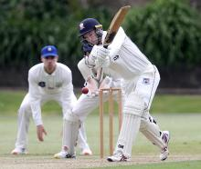 Auckland wicketkeeper-batsman Ben Horne hits the ball during day two of his side's Plunket Shield...