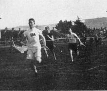 Arthur Porritt wins the 100-yard dash at Dunedin Amateur Athletic Association's sports on the...