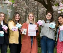 Canterbury University students (from left) Romy Gellen, Olivia Dobbs, Charlotte Hawkins, Caitlin...