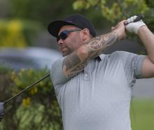 Winner Matt Tautiri unleashes his drive on the fifth hole during the final of the Otago Matchplay...