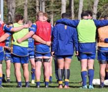 Otago coach Tom Donnelly address his team before training at Logan Park yesterday. Photo: Linda...