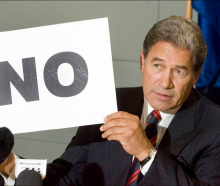 Peters with the famous 'No' sign, when he denied Owen Glenn had given money to NZ First. Photo:...