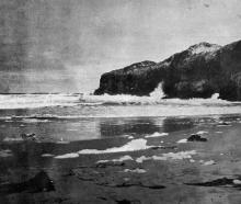 Lawyers Head, near Dunedin, viewed from Tomahawk Beach. — Otago Witness, 9.11.1920.