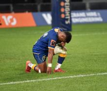Otago wing Vilimoni Koroi is down on one knee devastated after Otago's loss to Northland in the...