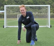 Irish footballer Stephen Last relaxes at Logan Park Turf yesterday as he looks ahead to his final...