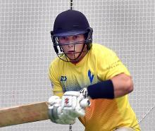 Otago batsman Llew Johnson gets in some training at the Edgar Centre yesterday. PHOTO: PETER...
