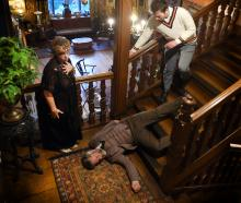 Trickster actors (from left) Harriet Moir, Danny Still (on the floor) and Simon Anderson rehearse...