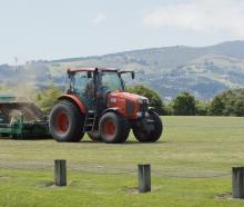 A Delta contractor works on the turf at Montecillo Park in Dunedin last week. PHOTO: GERARD O...