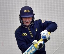 Otago Sparks cricketer Hayley Jensen gets in some batting practice at the Edgar Centre yesterday....