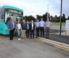 Waimakariri Mayor Dan Gordon (left) was joined by MP Matt Doocey, councillors and staff to test...