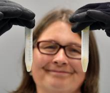 Associate Prof Janice Lord with vials of corpse plant pollen frozen at -80degC at the University...