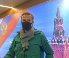 ussian opposition leader Alexei Navalny speaks with journalists upon the arrival at Sheremetyevo...