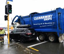 A car and a truck collided in Spey St in Invercargill. Photo: Laura Smith