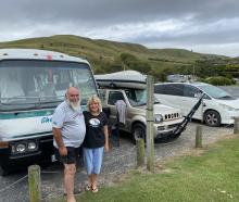 Loving the surroundings at the Ocean View freedom camping site are Allan and Cathy Luchford, of...