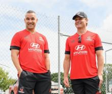 New Crusaders assistant coach Tamati Ellison (left) and head coach Scott Robertson in...