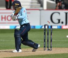 England opener Danni Wyatt is bowled by White Ferns seamer Jess Kerr in a one-day international...