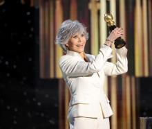 Jane Fonda accepts the Cecil B. DeMille Award in this handout photo from the 78th Annual Golden...