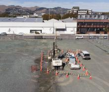 The drilling rigs at the Canterbury Multi-Use Arena site. Photo: Newsline / CCC