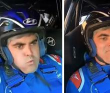 Dunedin Mayor Aaron Hawkins' face tells the story of his wild ride with 2021 Otago Rally champion...