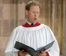 Former Dunedin tenor Nick Madden performs at the funeral of Prince Philip at St George's Chapel...