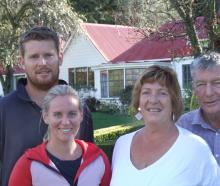 Outside the historic Station Peak homestead are (from left) Michael, Olivia, Julie and Kieran...