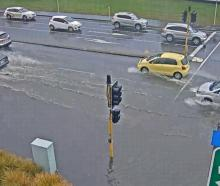 Surface flooding at the intersection of Curletts and Blenheim Rds. Photo: Transport for Christchurch
