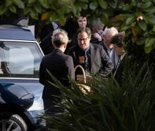 David McPhail's son Matt farewells his father in Christchurch today. Photo: NZ Herald