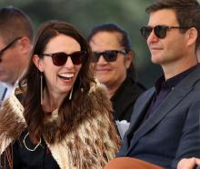 Jacinda Ardern and Clarke Gayford at Ruapekapeka Pa in Waitangi earlier this year. Photo: Getty