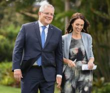 New Zealand Prime Minister, Jacinda Ardern and Australian Prime Minster, Scott Morrison share...