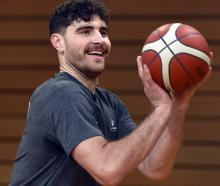 Otago Nuggets centre Sam Timmins enjoys a shoot-around at the Edgar Centre yesterday.PHOTO: PETER...