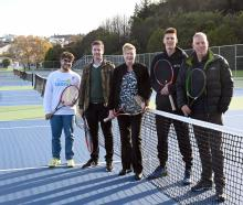 Tennis Otago representatives (from left) board member Alessandro Pezzuto, business manager George...
