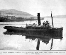 The Otago Harbour Board tug Dunedin on a trial trip on May 11, 1921 after being refitted with a...