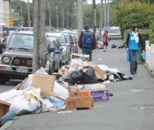 Uncollected rubbish is mounting on Castle St, Dunedin, causing concern for Campus Watch staff who...