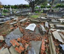 Earthquake damage at the Lyttelton Catholic and Public Cemetery (above) and Lyttelton Anglican...