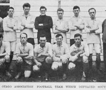 The Otago association football team which defeated Southland. — Otago Witness, 14.6.1921.