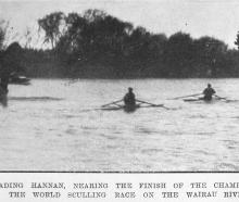 Richard Arnst leads Pat Hannan near the finish of the world sculling championship race on the...