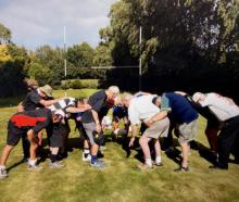 The Crushers put down a scrum at Dan Carter's former home. Photo: Supplied