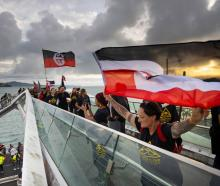 Ngatti Whatua Orakei leads a peaceful hikoi to the Tamaki Makaurau (Auckland) High Court on the...