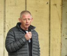 Dairy farmer Willy Leferink spoke at the protest. PHOTOS: TONI WILLIAMS